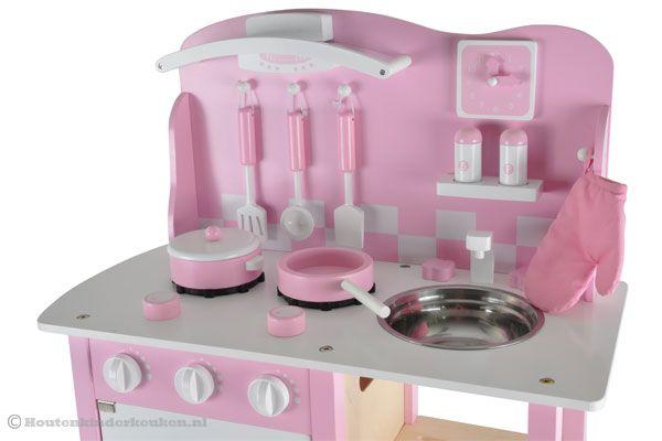 Keuken Accessoires Kinderkeuken : Bandits & Angels Chef Deluxe pink Houtenkinderkeuken.nl