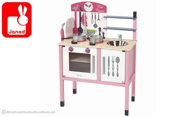 Houten Speelgoed Keuken Janod : Janod Roze houten keuken Houtenkinderkeuken.nl