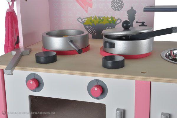 Keuken Accessoires Kinderkeuken : Janod Roze houten keuken Houtenkinderkeuken.nl