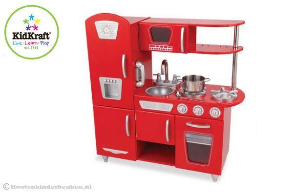 Keuken Accessoires Kinderkeuken : Kidkraft Rode vintage keuken Houtenkinderkeuken.nl