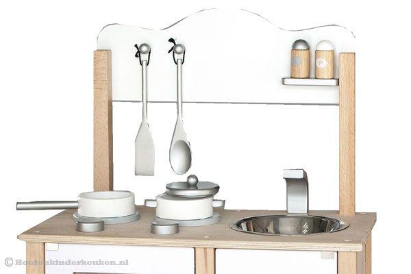 Keuken Kind Hout : Houten keuken inclusief 6 accessoires.
